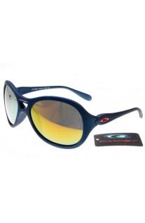 womens blue oakley sunglasses  oakley women overtime round sunglasses matte blue frame fire yellow lens