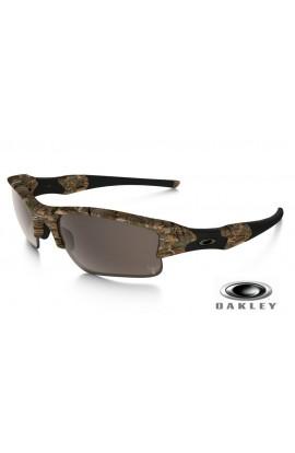 Oakley Flak Jacket Sunglasses Woodland Camo Frame VR28 Warm Gray Lens