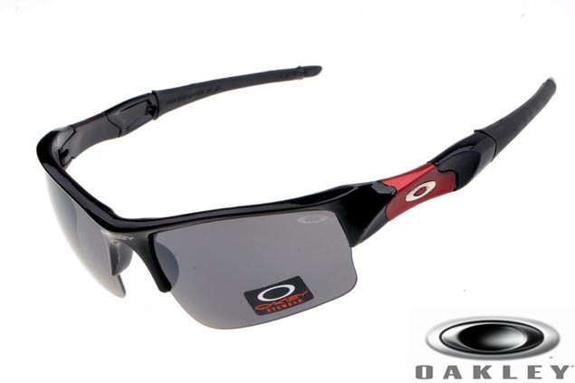 56e38c111f Fake Oakley Flak Jacket Sunglasses Polished Black Red Frame Grey ...