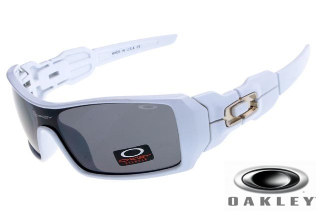 Fake Oakley Oil Rig Sunglasses White Frame Gray Iridium Lens