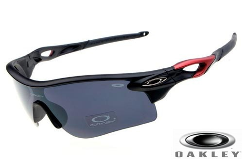 5a12b61514 Fake Oakleys Radarlock Sunglasses Polished Black Red Frame Gray ...