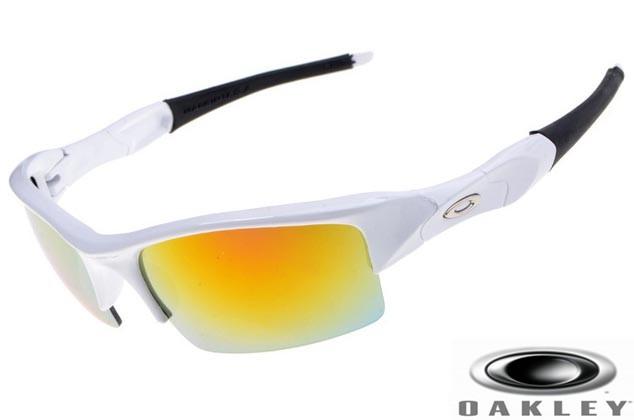 Replica Oakley Flak Jacket Sunglasses White Frame Fire Iridium Lens
